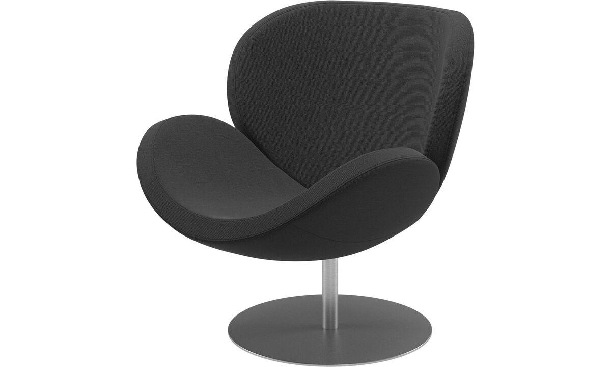 Nojatuolit - Schelly-tuoli pyörivällä jalustalla - Musta - Kangas
