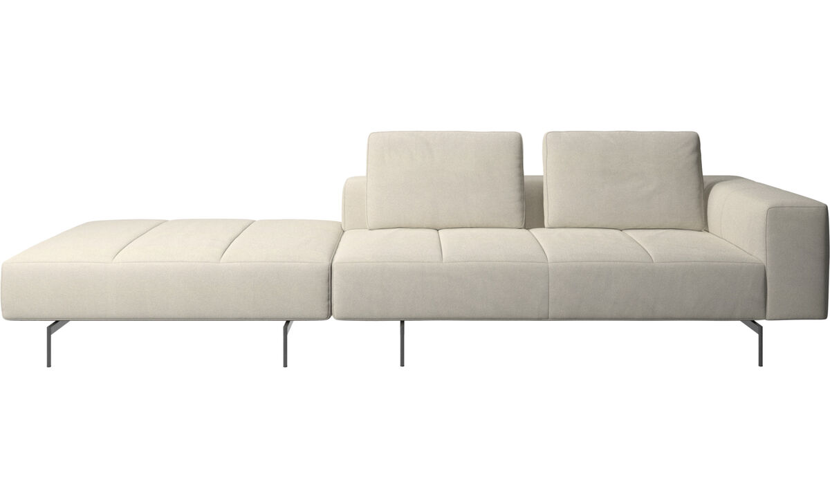 3 seater sofas - Amsterdam sofa with footstool on left side - White - Fabric