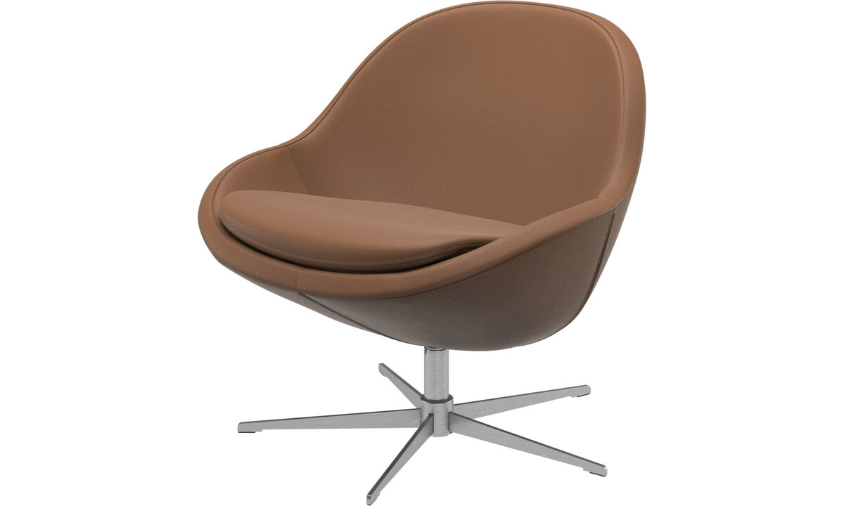 Armchairs - Veneto chair with swivel function - Brown - Leather