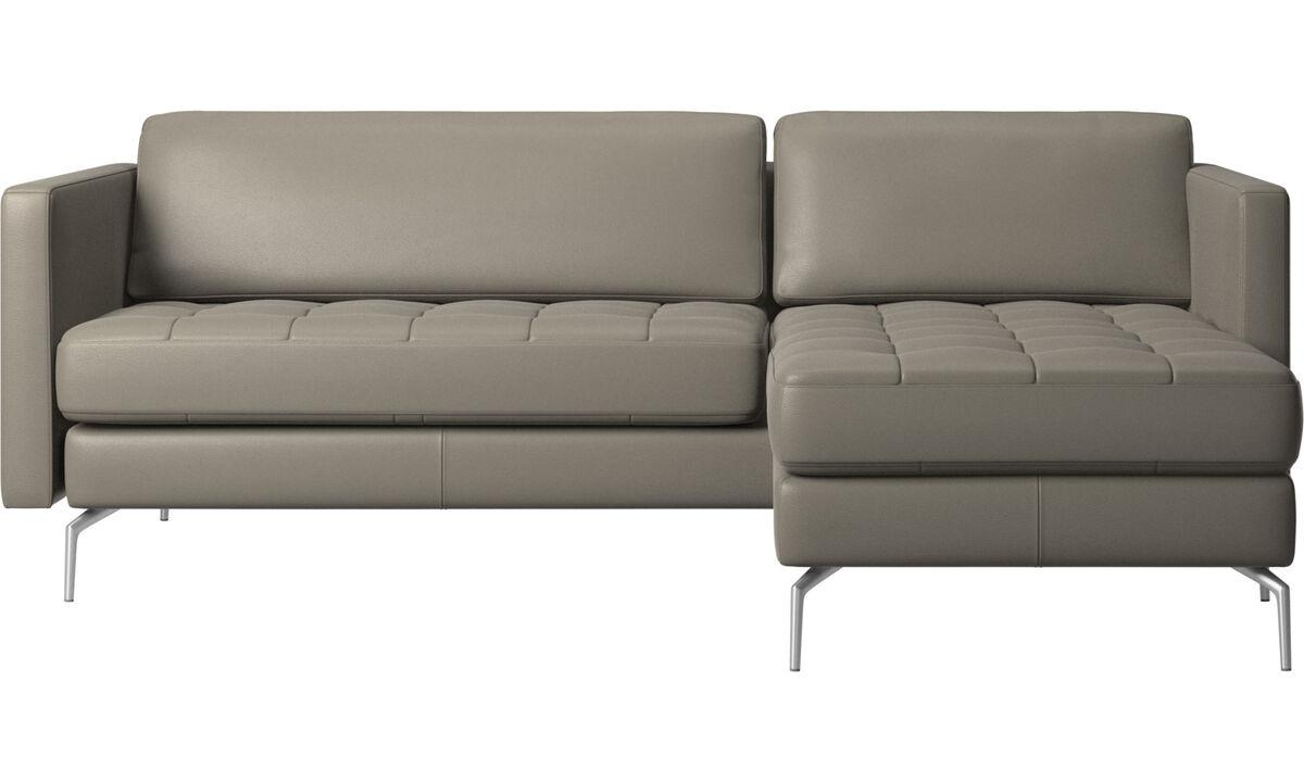 Sofás con chaise longue - sofá Osaka con módulo chaise-longue, asiento capitoné - En gris - Piel