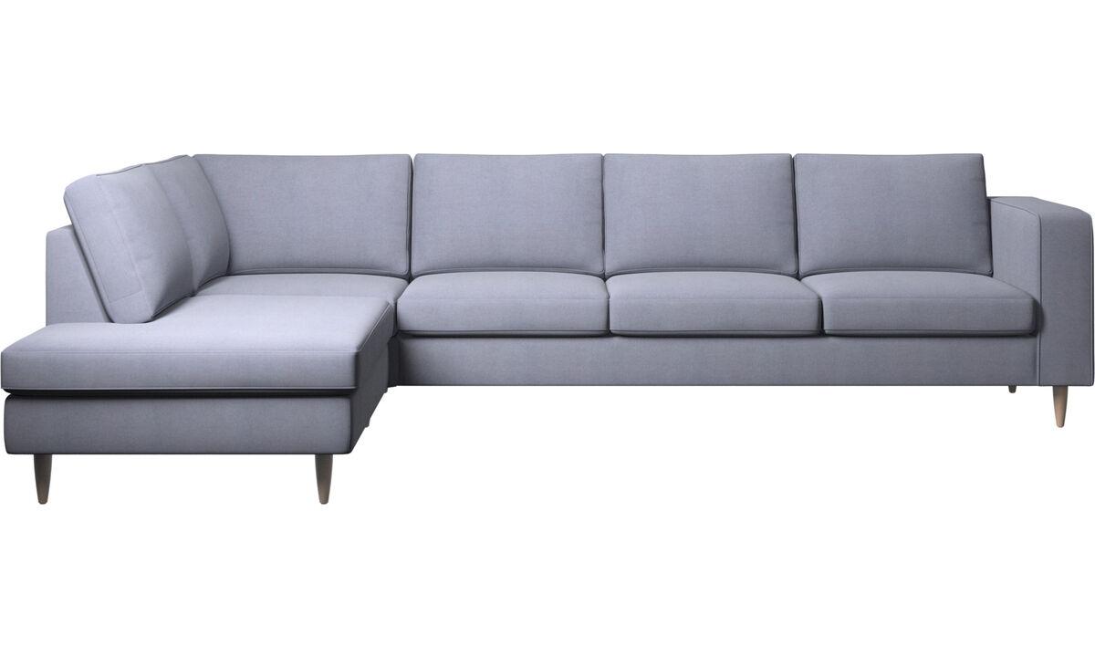 Sofás esquineros - sofá esquinero Indivi con módulo de descanso - En azul - Tela