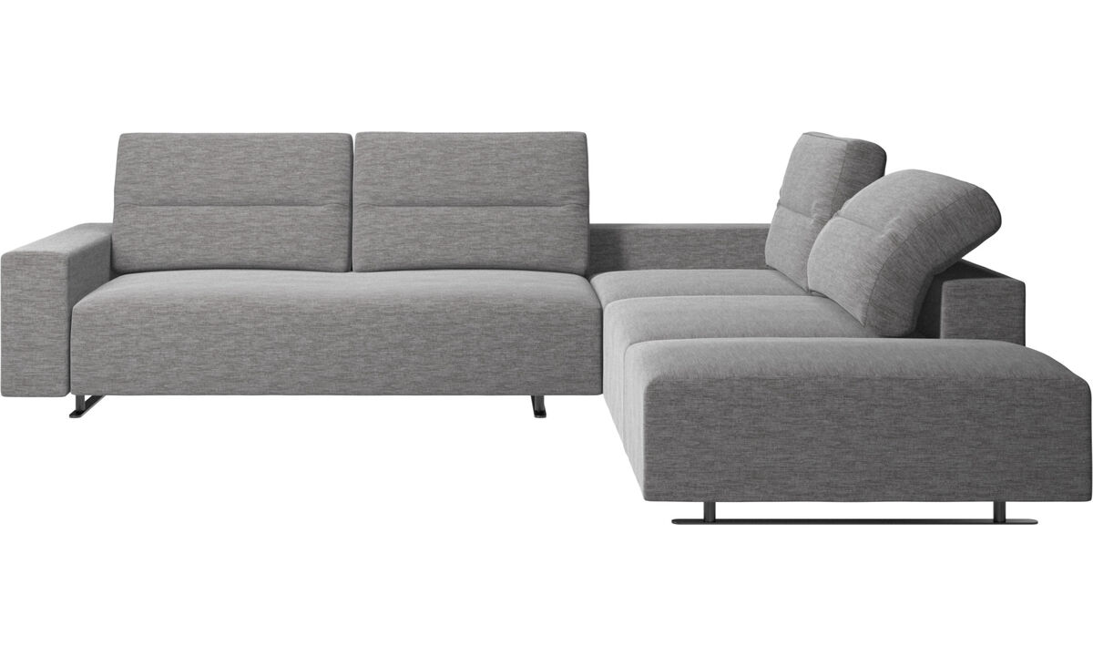 Corner sofas - Hampton corner sofa with adjustable back and lounging unit - Grey - Fabric