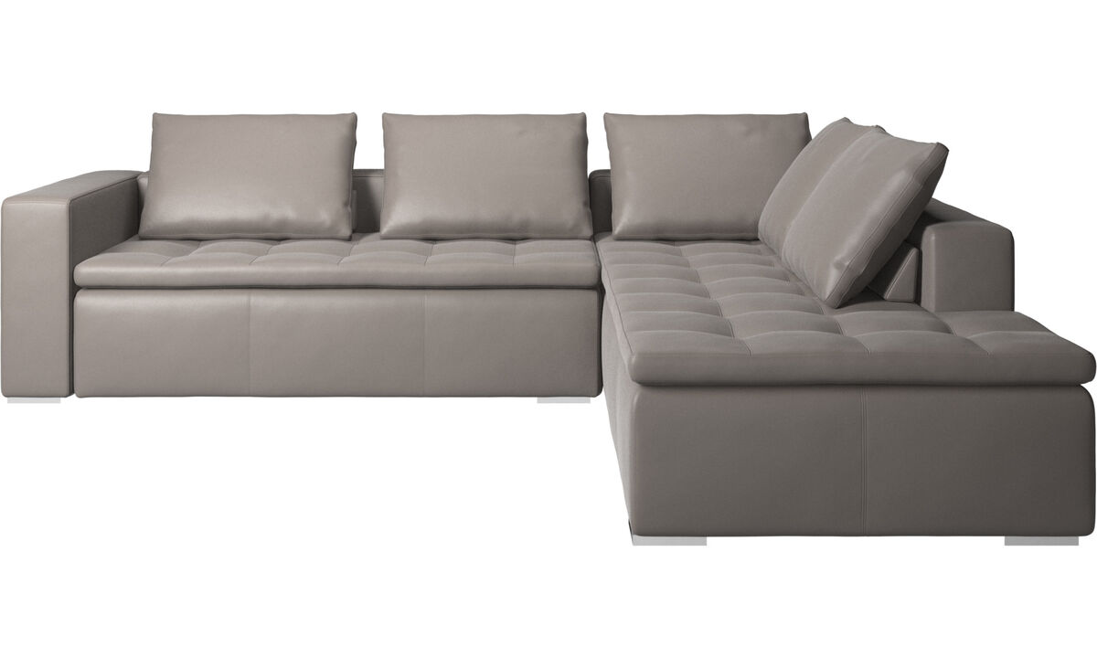Sofas with open end - Mezzo corner sofa with lounging unit - Beige - Leather