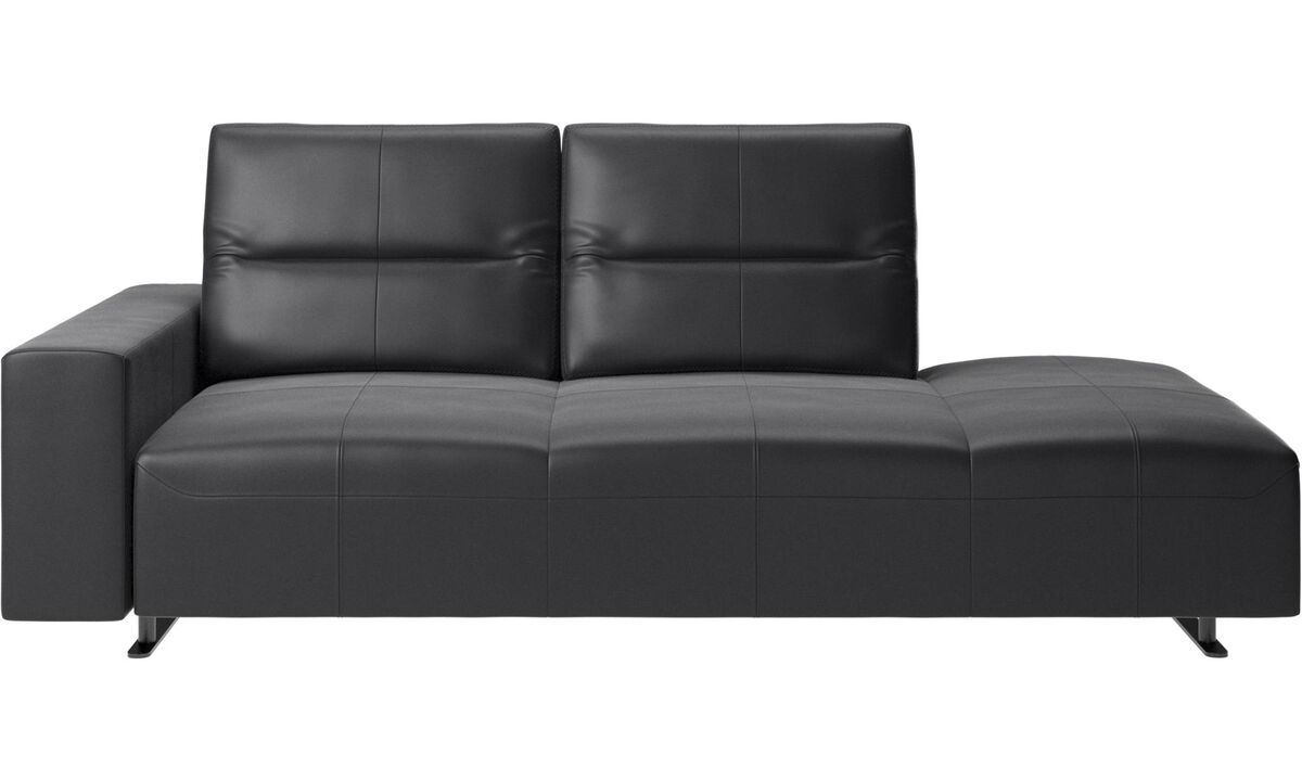 Sofas with open end - Hampton sofa with adjustable back and lounging unit right side, armrest left - Black - Leather