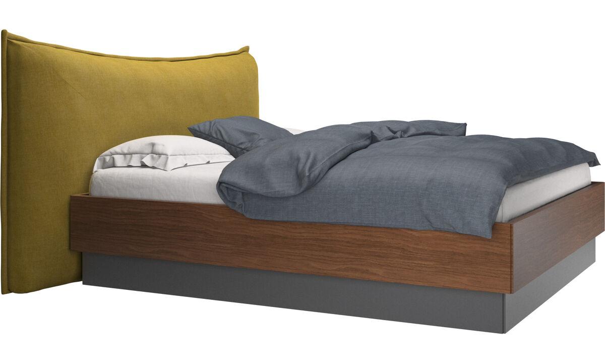 Camas - cama con canapé, estructura elevable y tablado, no incluye colchón Gent - En amarillo - Tela