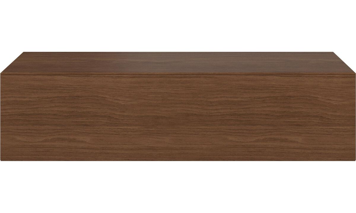 Wall systems - Lugano wall mountable cabinet with flip-up door - Brown - Walnut