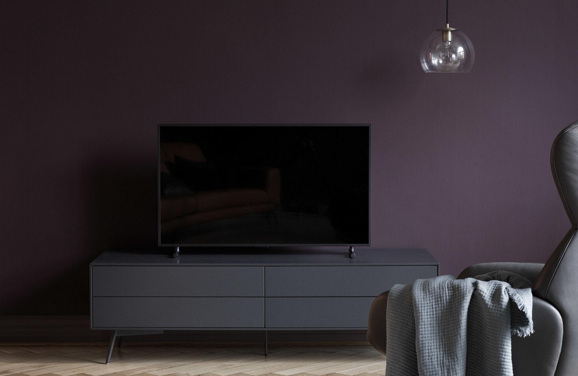 Muebles de TV - Módulo multimedia Fermo con puertas abatibles hacia abajo y cajón