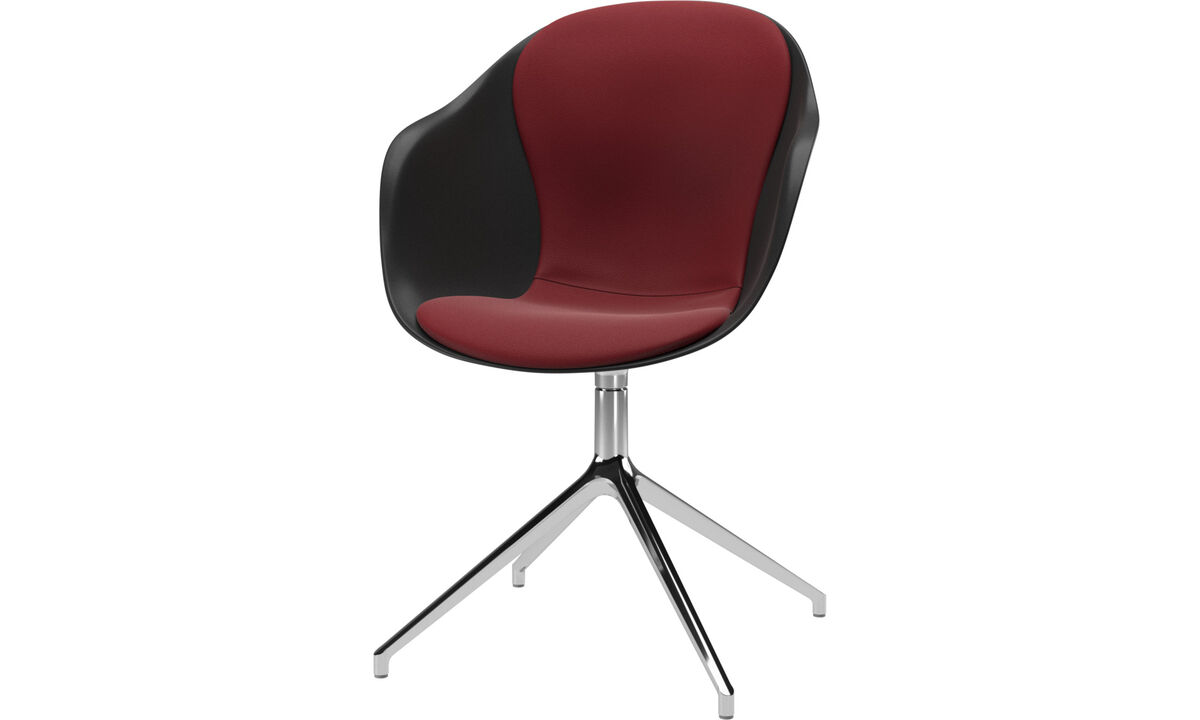 Dining chairs - Adelaide chair with swivel function - Red - Leather