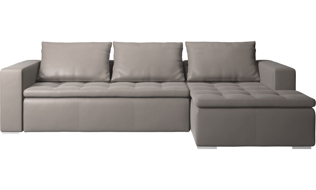 Chaise lounge sofas - Mezzo sofa with resting unit - Beige - Leather