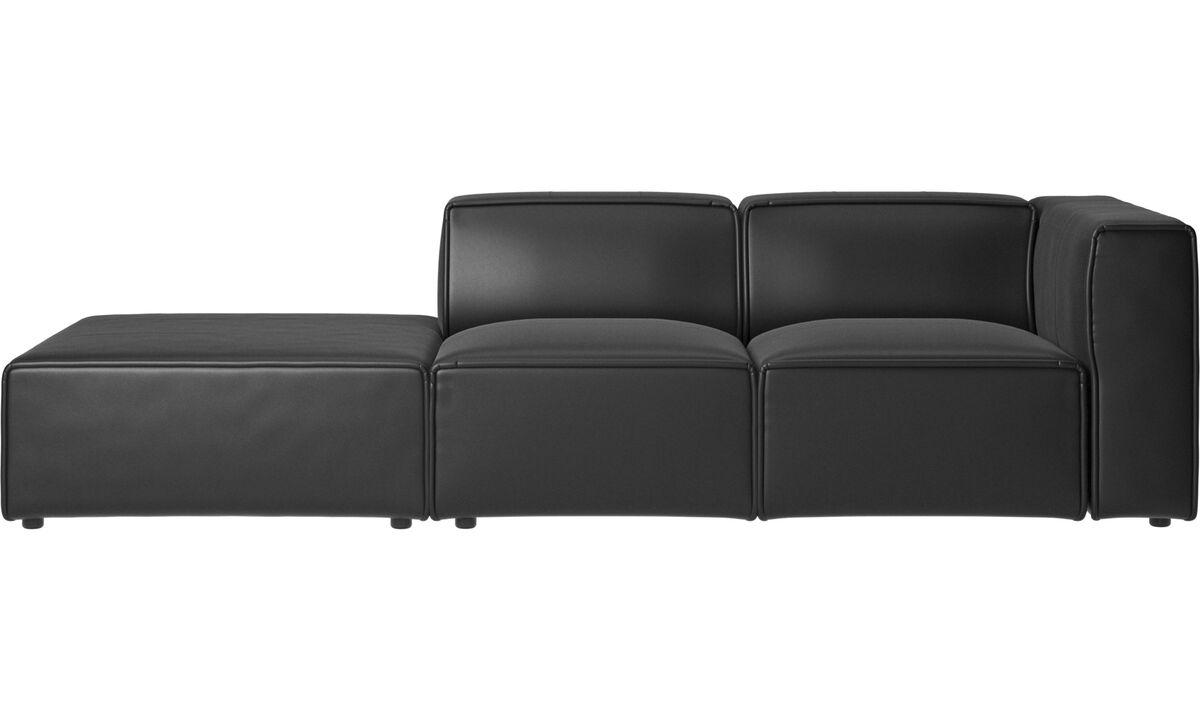 Sofás con lado abierto - Sofá Carmo con movimiento - En negro - Piel