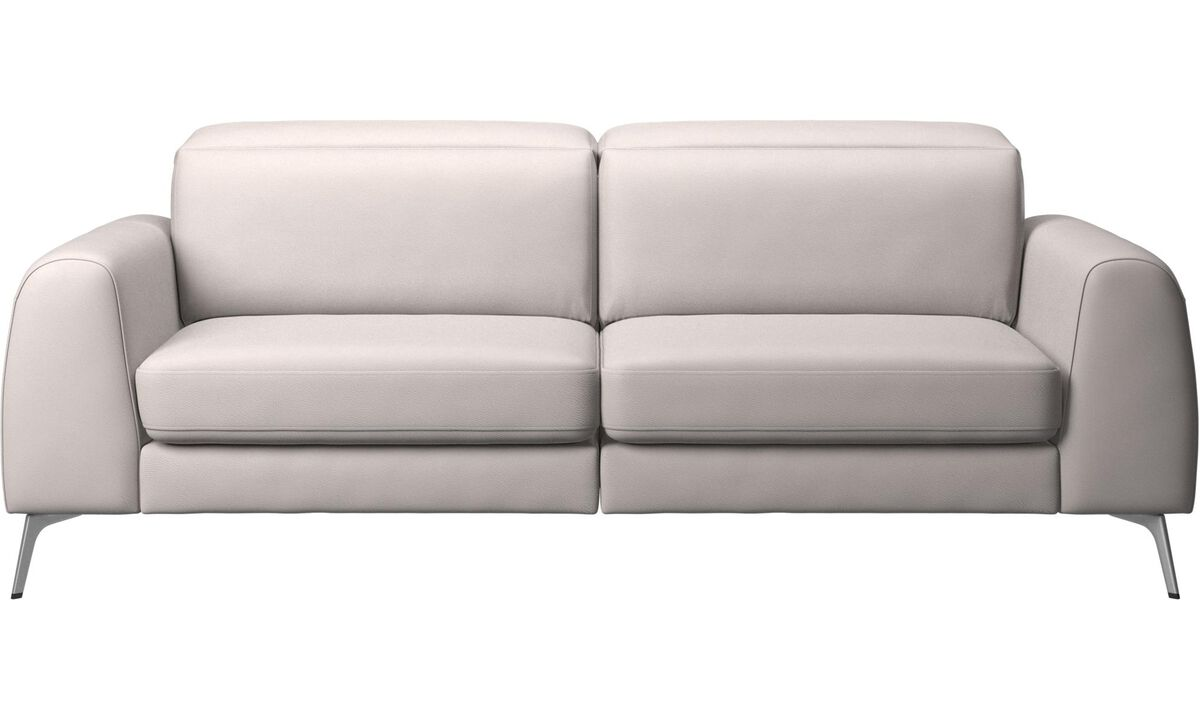 Sofas - Madison sofa with sleeper function and manual headrest - Beige - Leather