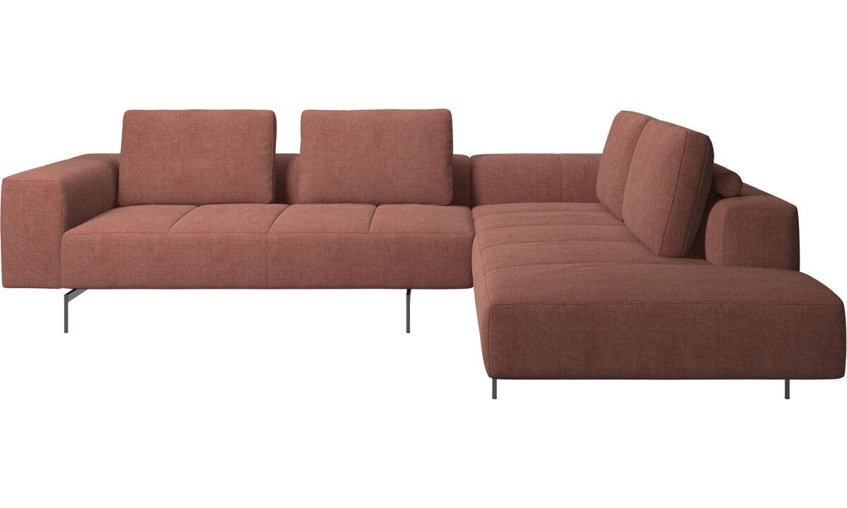 Sofás de canto - sofá de canto Amsterdam com módulo de descanso - Vermelho - Tecido
