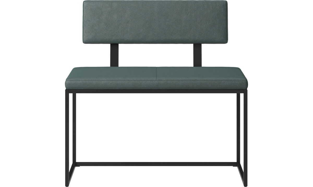 Benches - London small bench with cushion and backrest - Green - Fabric