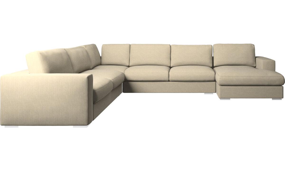 Corner sofas - Cenova corner sofa with resting unit - Brown - Fabric