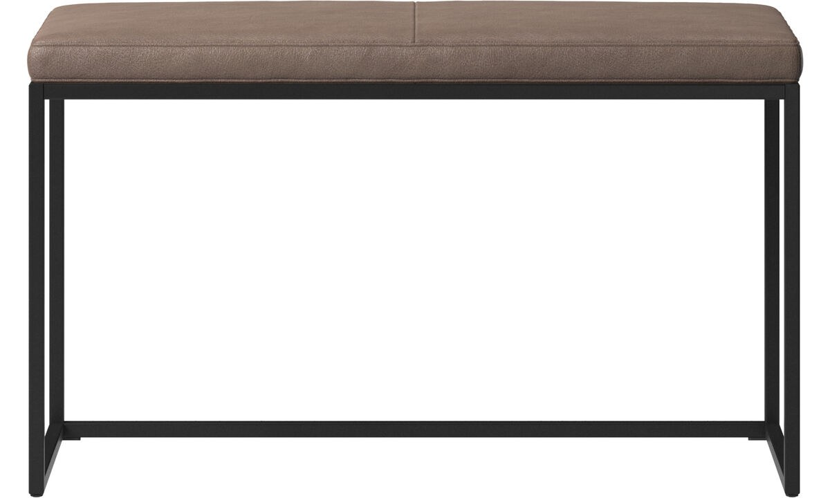 Benches - London small bench with cushion - Brown - Leather