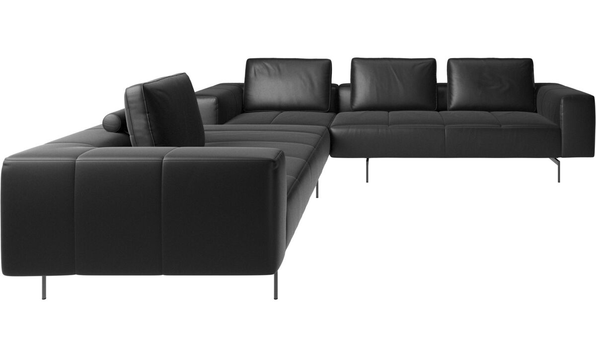 Corner sofas - Amsterdam corner sofa - Black - Leather
