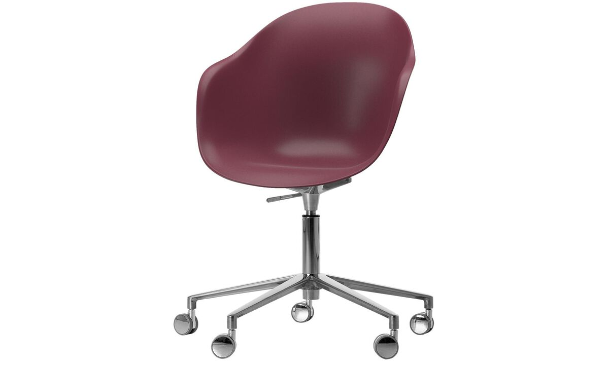 Home office chairs - Adelaide chair with swivel function and wheels - Red - Metal