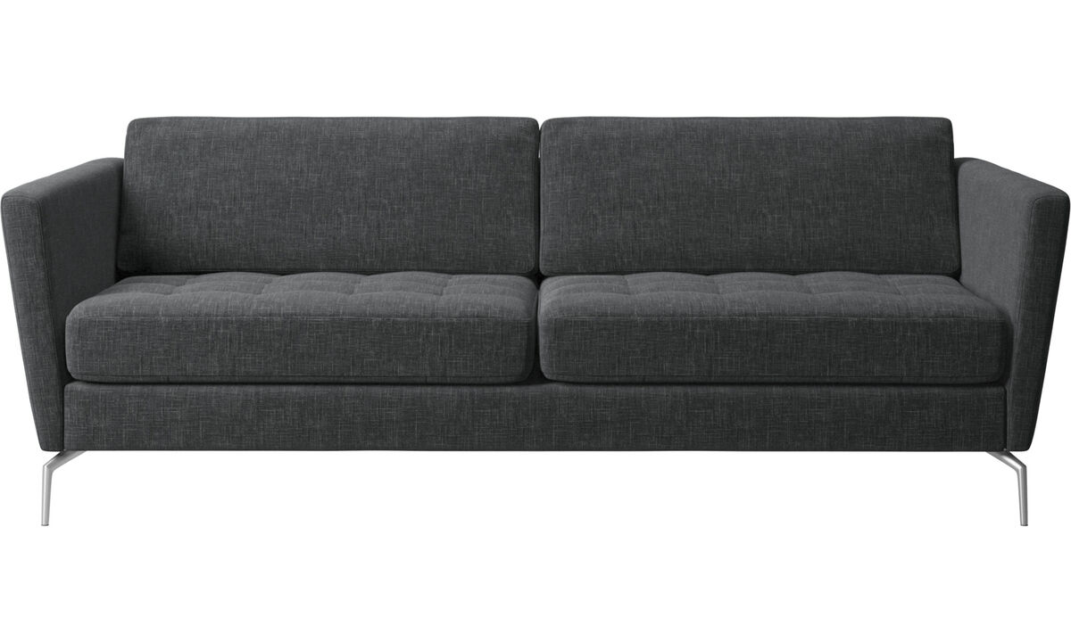 2.5 seater sofas - Osaka sofa, tufted seat - Grey - Fabric