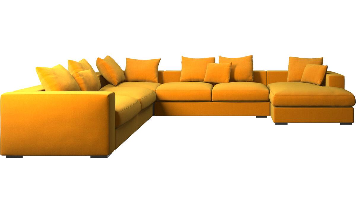 Chaise lounge sofas - Cenova corner sofa with resting unit - Orange - Fabric