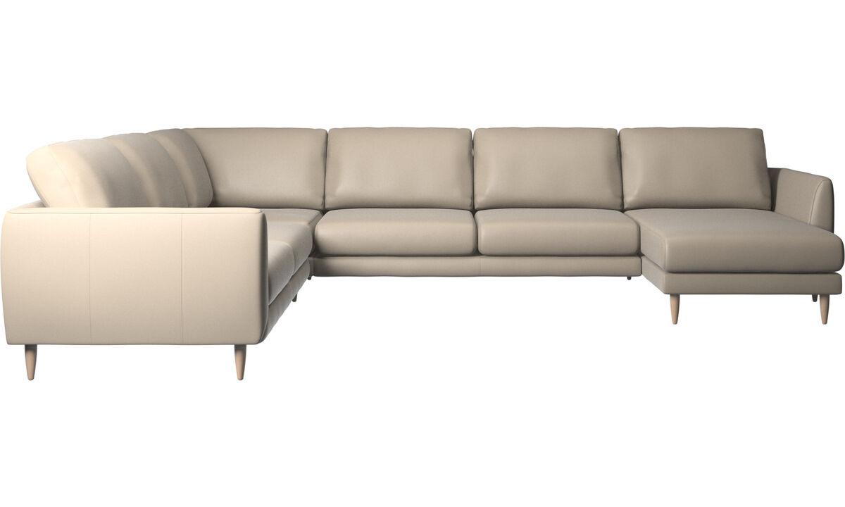 Chaise longue sofas - Fargo corner sofa with resting unit - Beige - Leather