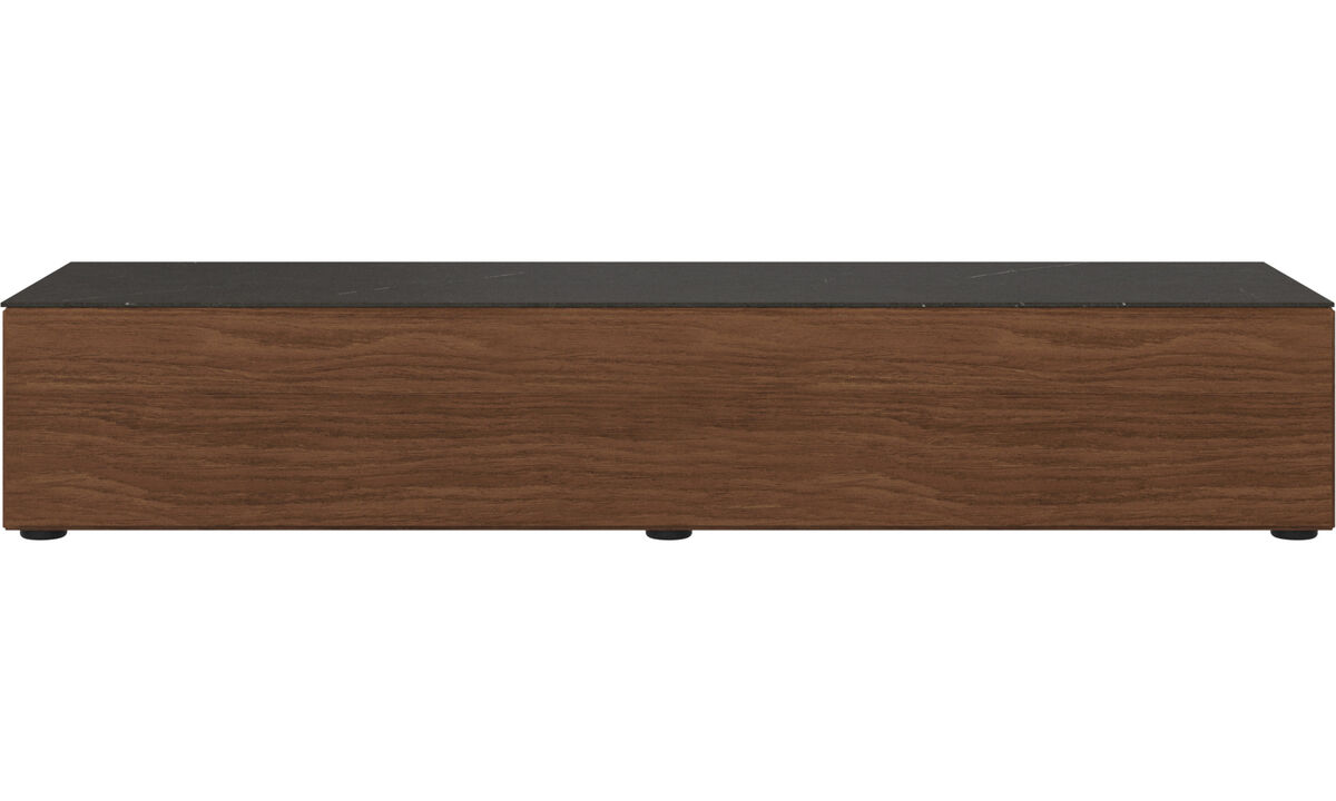 Tv units - Lugano base cabinet with drop-down door and top-plate - Black - Walnut