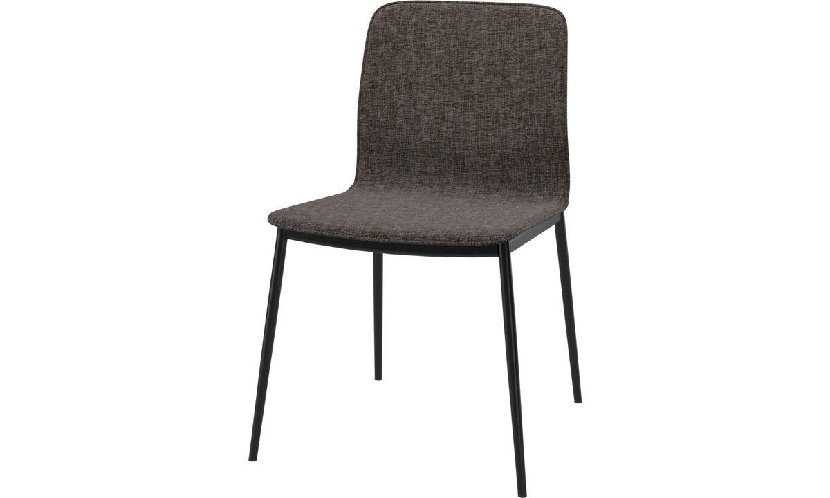 Sillas de comedor - silla de comedor Newport en tela y piel personalizada - En marrón - Tela