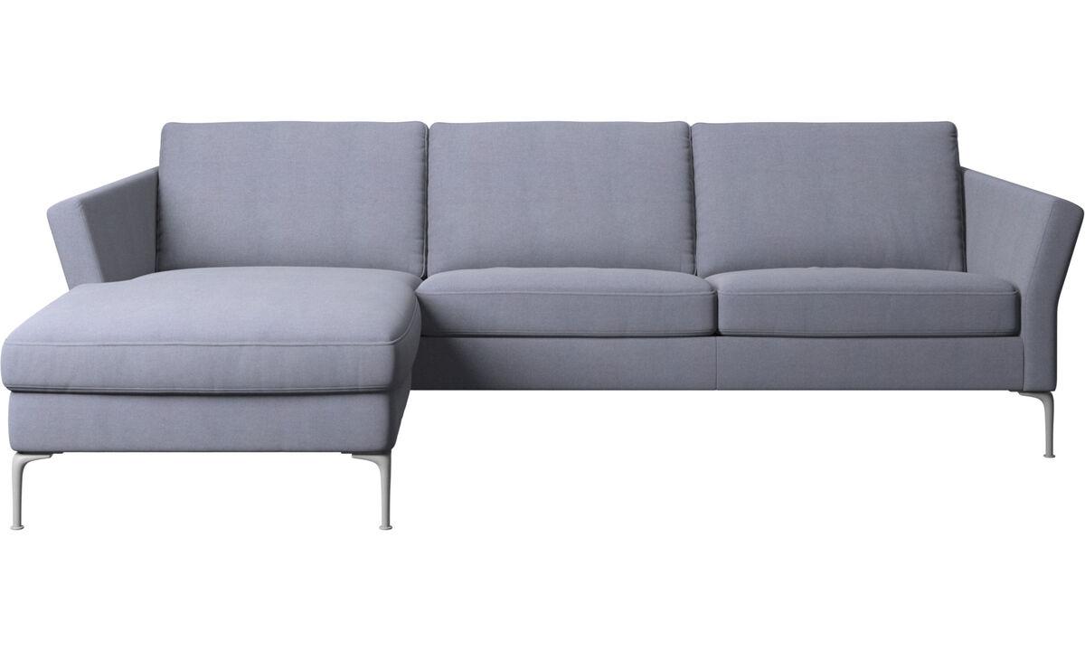Sofás con chaise longue - Sofá Marseille con módulo chaise-longue - En azul - Tela