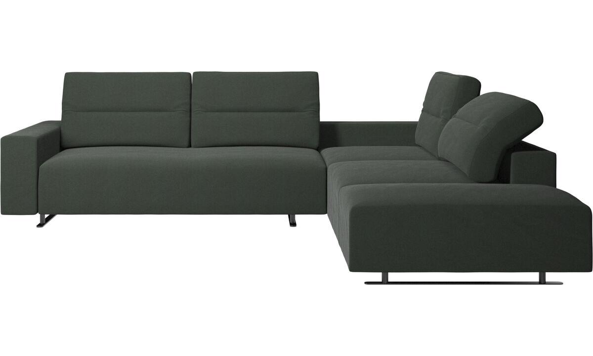 Sofás de canto - Sofá de canto Hampton com encosto ajustável e armazenamento na lateral esquerdo - Verde - Tecido