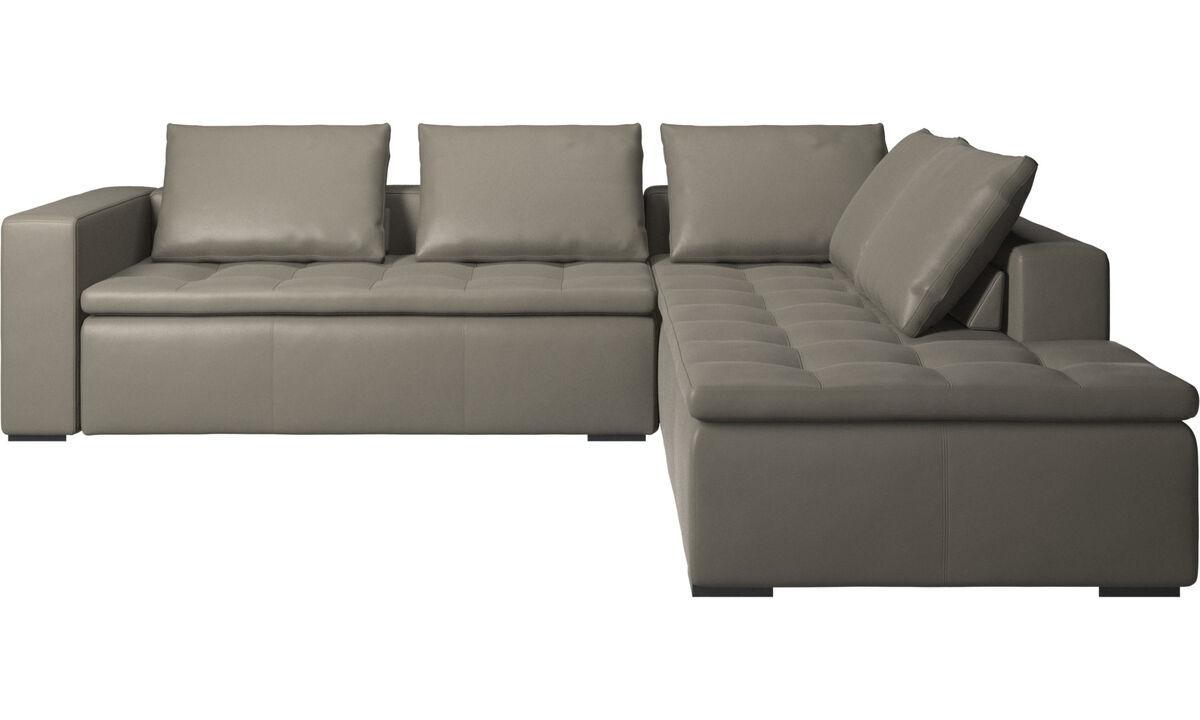 Corner sofas - Mezzo corner sofa with lounging unit - Grey - Leather