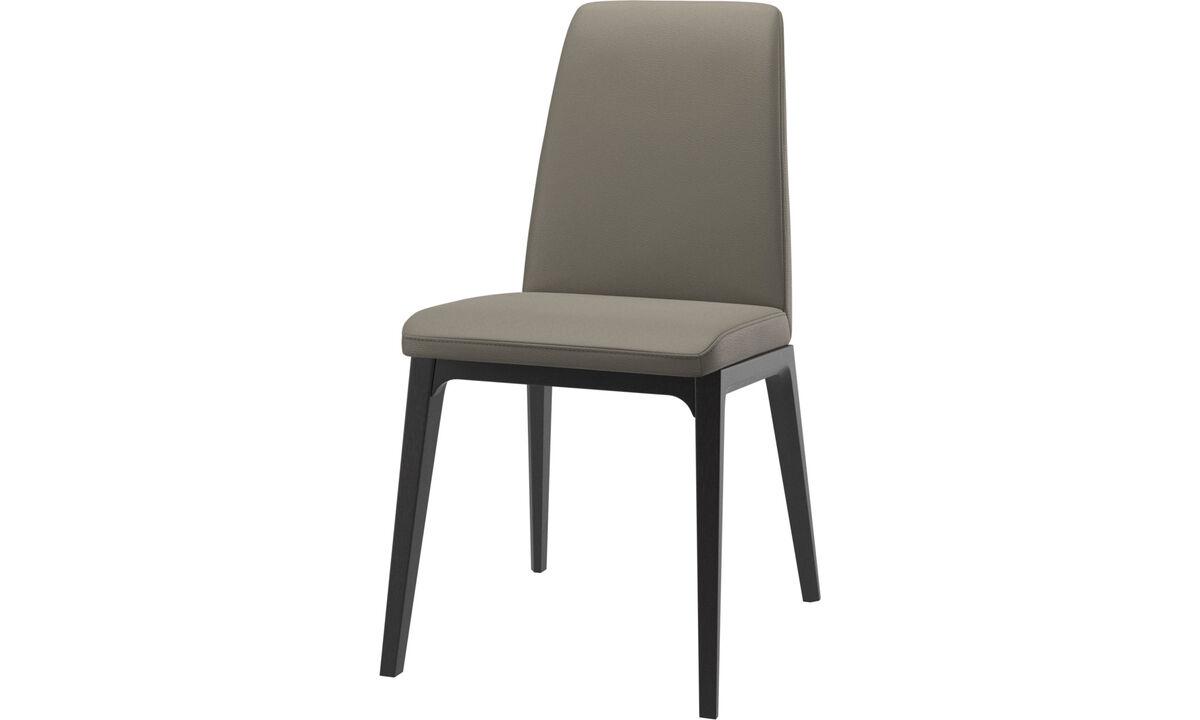 Sillas de comedor - silla Lausanne - En gris - Piel