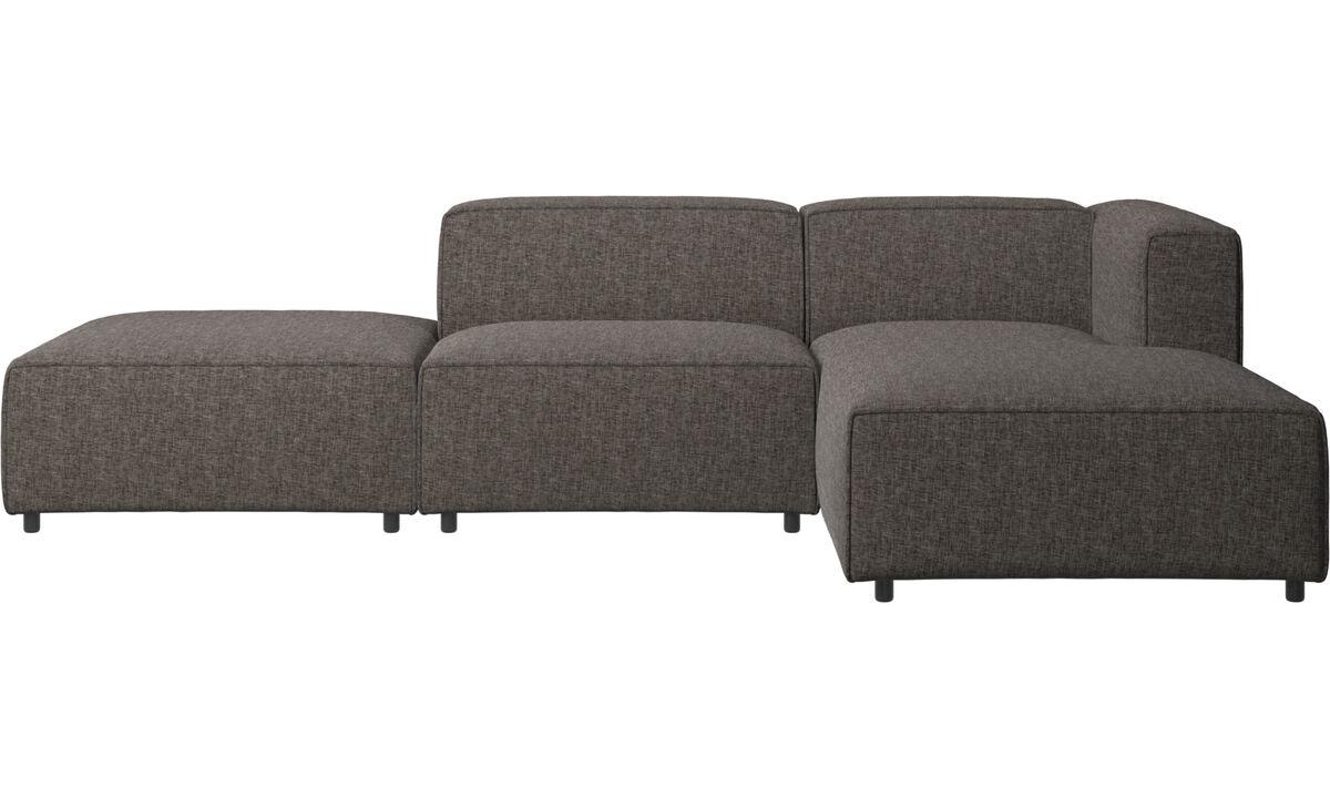 Sofás modulares - Sofá Carmo con módulo chaise-longue - En marrón - Tela