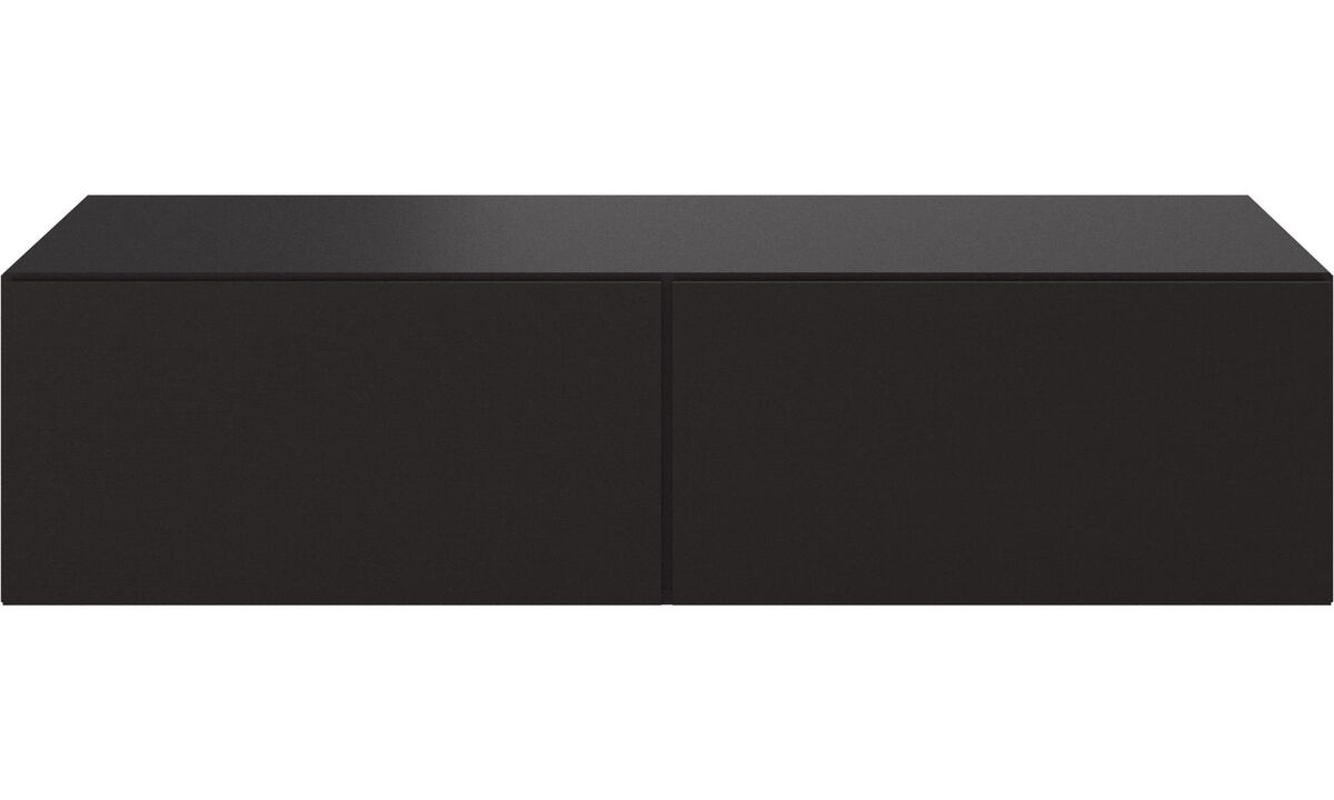 Wall systems - Lugano wall mounted cabinet with drop down doors - Black - Oak