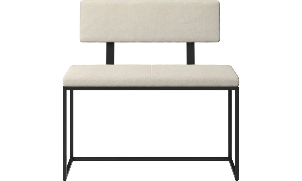Benches - London small bench with cushion and backrest - White - Fabric