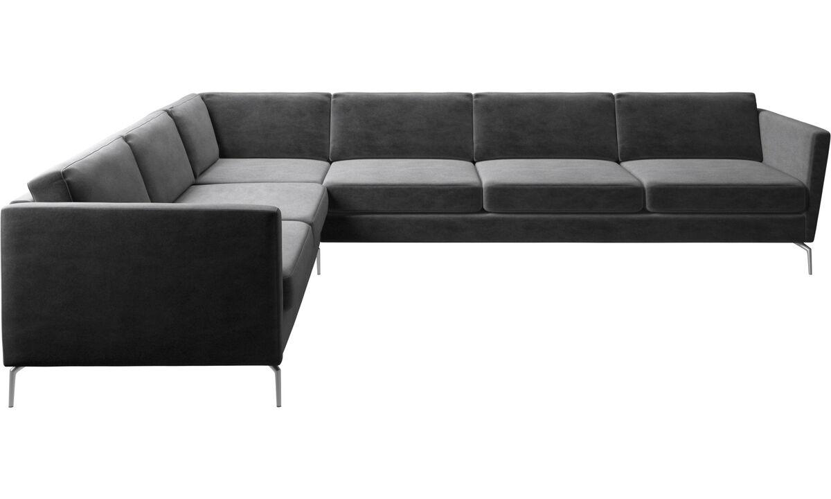Canapés d'angle - canapé d'angle Osaka, assise classique - Gris - Tissu