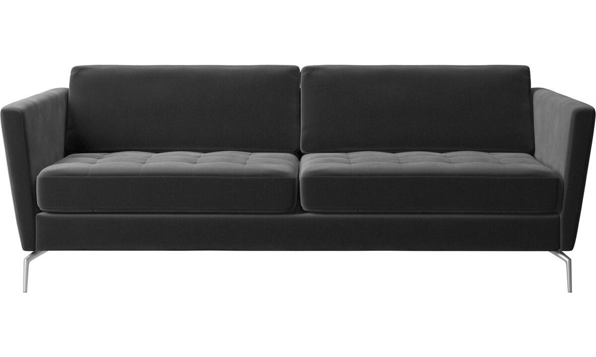 2.5 seater sofas - Osaka sofa, tufted seat - Black - Fabric