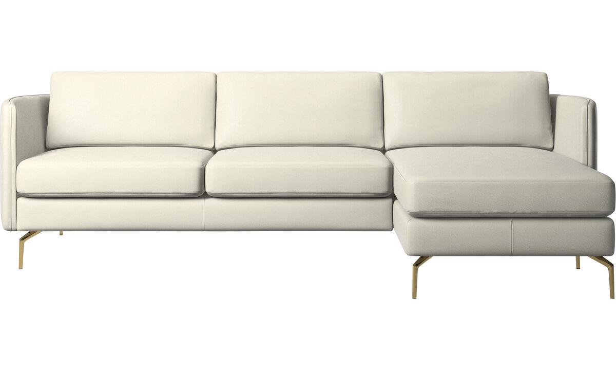 Chaise lounge sofas - Osaka sofa with resting unit, regular seat - Beige - Leather