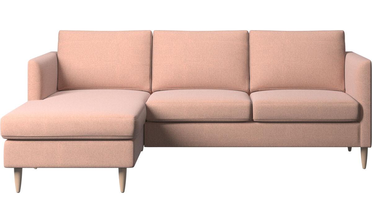 Chaise longue banken - Indivi zitbank met ligelement - Rood - Stof