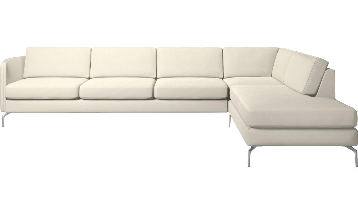 Lounge Suites - Osaka corner sofa with lounging unit, regular seat - White - Fabric