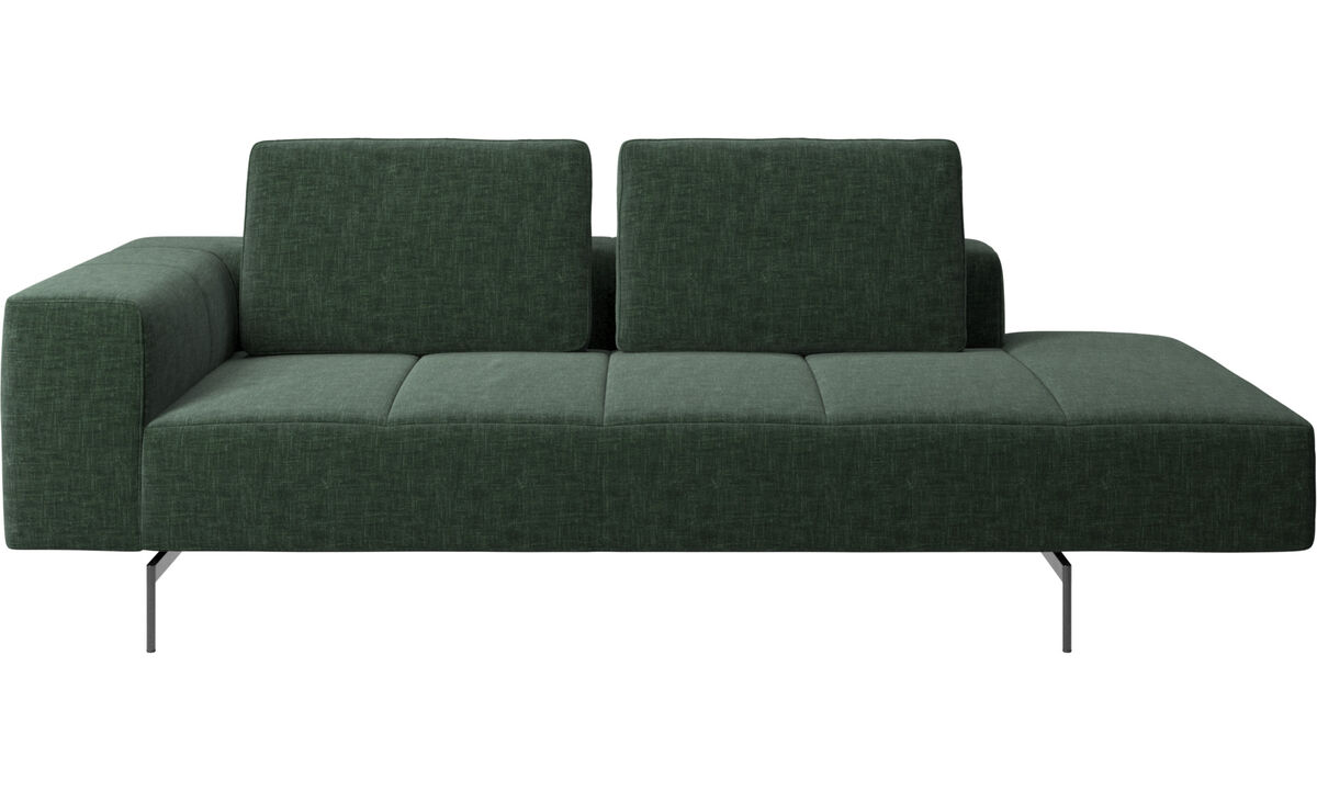 Modular sofas - Amsterdam resting module for sofa, armrest left, open end right - Green - Fabric