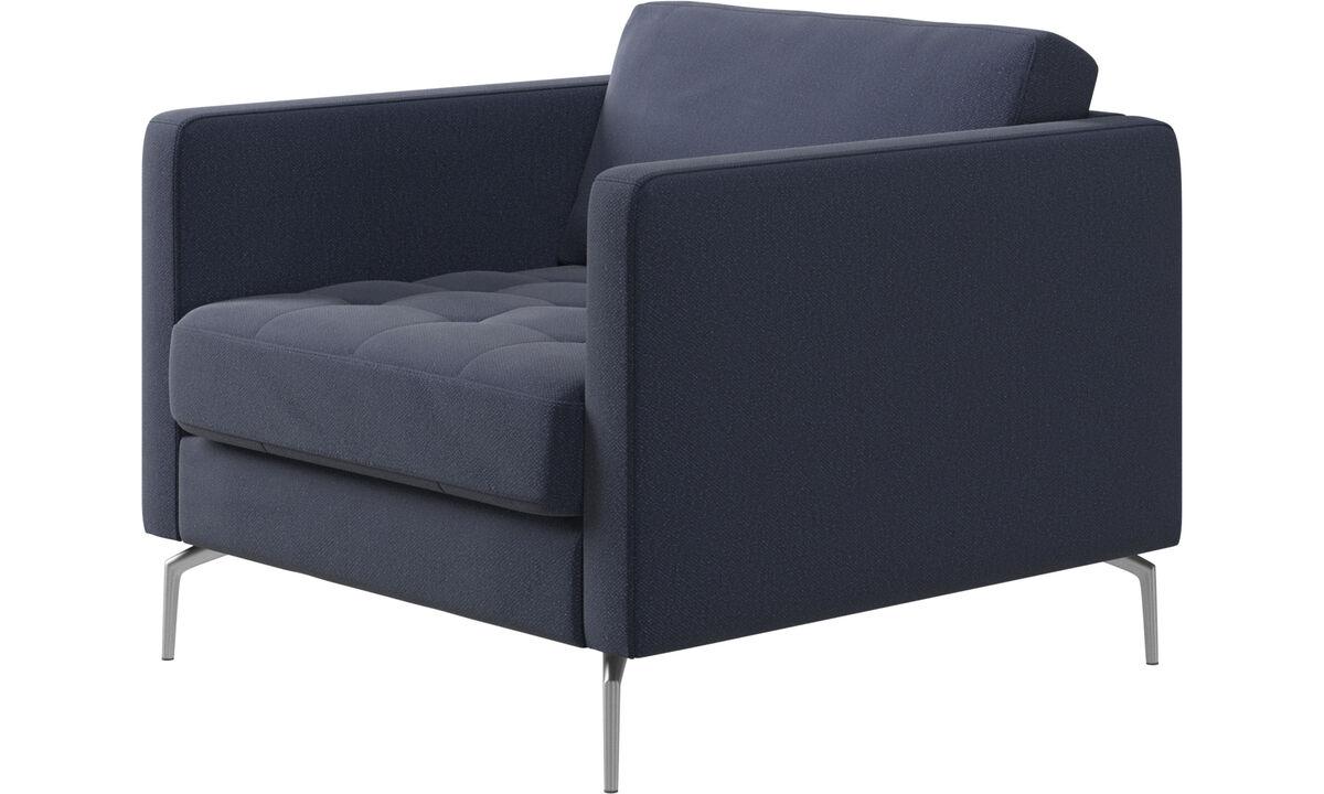 Fauteuils - Osaka fauteuil, gecapitonneerde zitting - Blauw - Stof