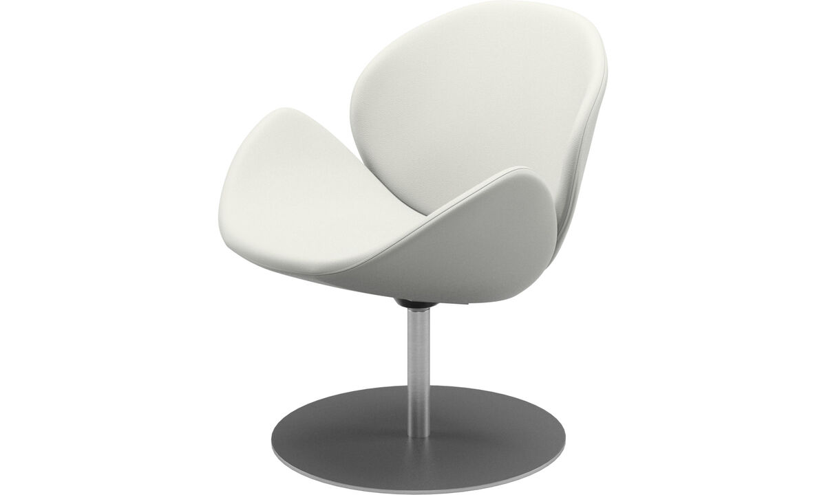 Armchairs - Ogi chair with swivel function - White - Leather