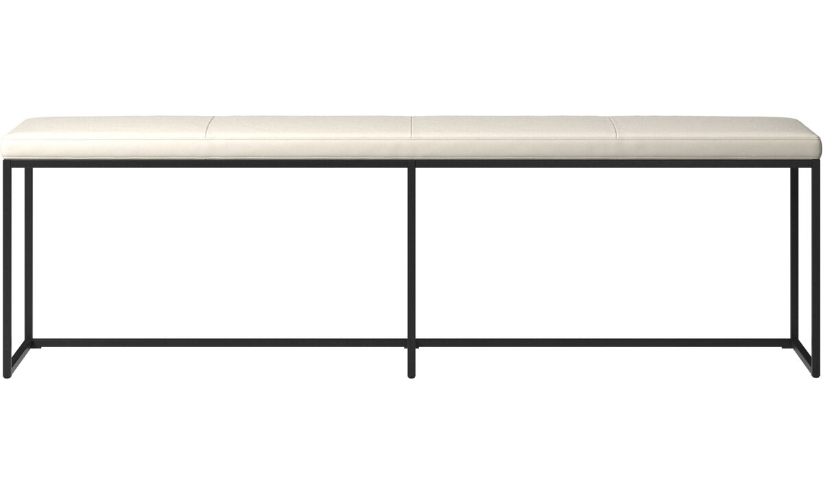 Benches - London large bench with cushion - White - Leather