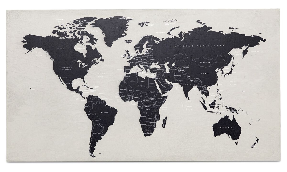 Paintings - World map Concrete art - Grey - Concrete
