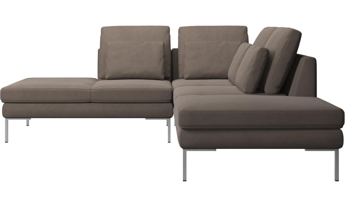 New designs - Istra 2 sofa with lounging unit - Grey - Leather
