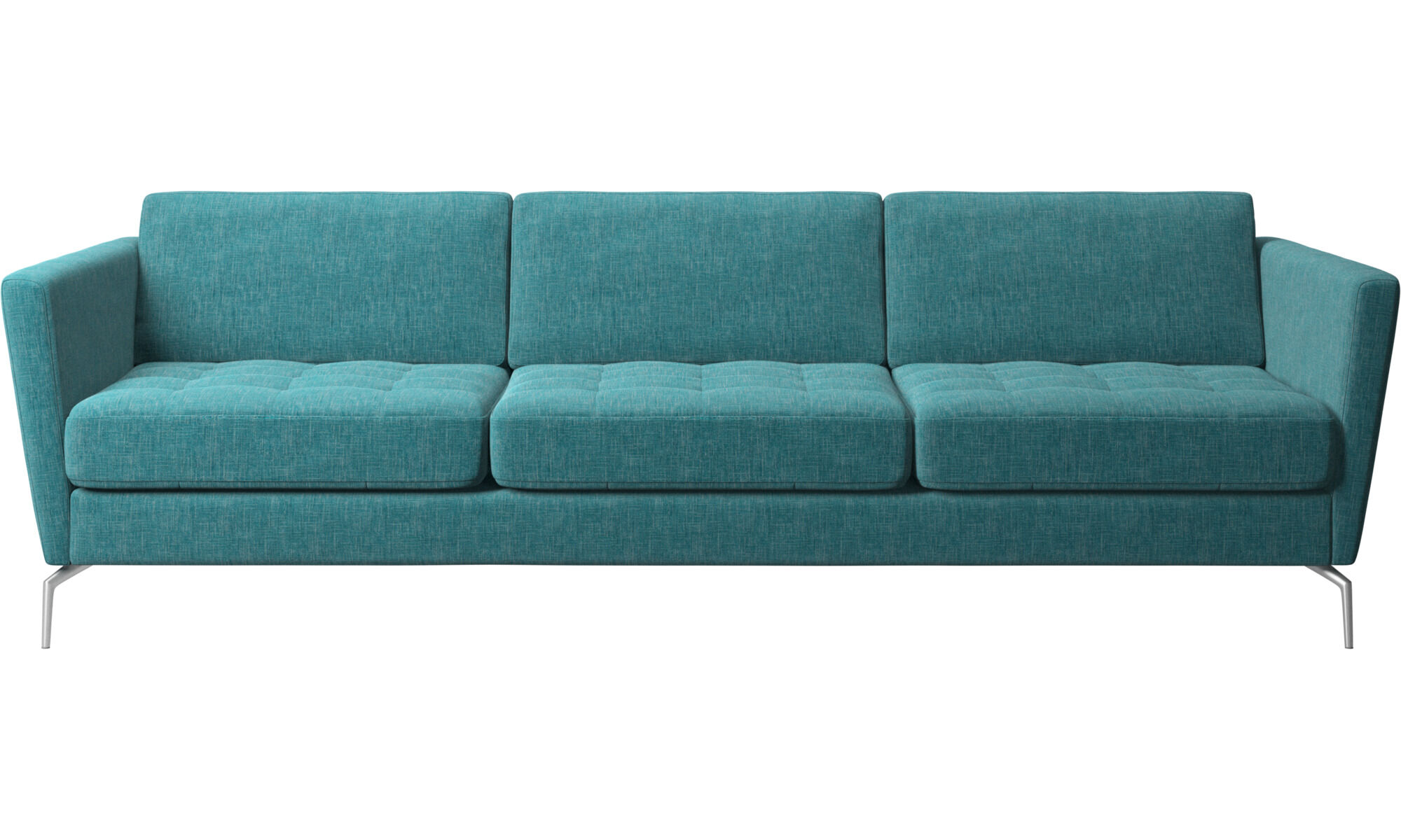 Elegant 3 Seater Sofas   Osaka Sofa, Tufted Seat   Blue   Fabric