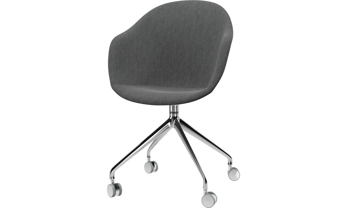 New designs - Adelaide chair with swivel function and wheels - Gray - Fabric