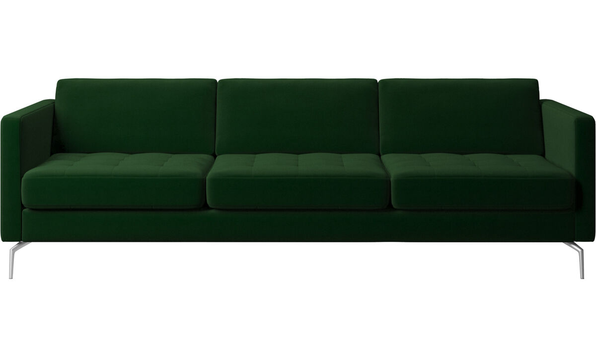 3 seater sofas - Osaka sofa, tufted seat - Green - Fabric