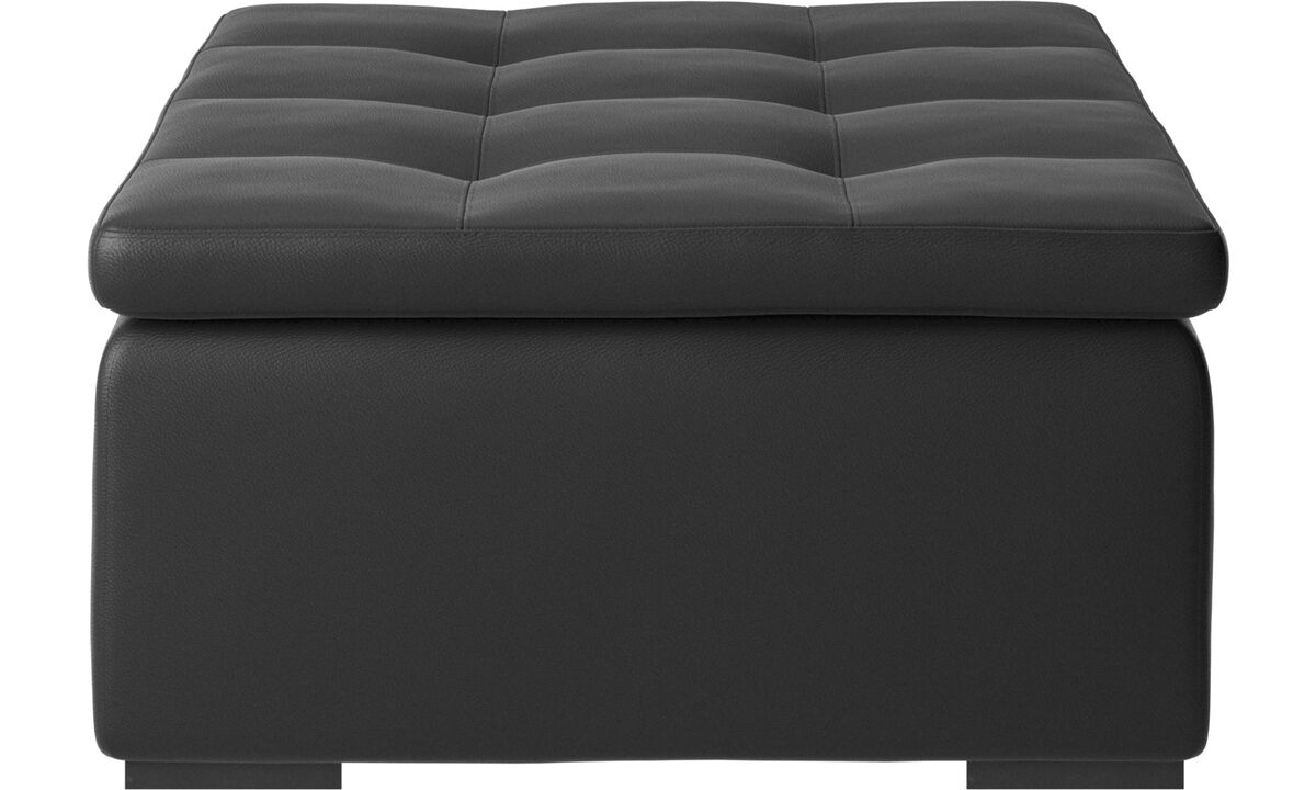 Footstools - Mezzo ottoman - Black - Leather