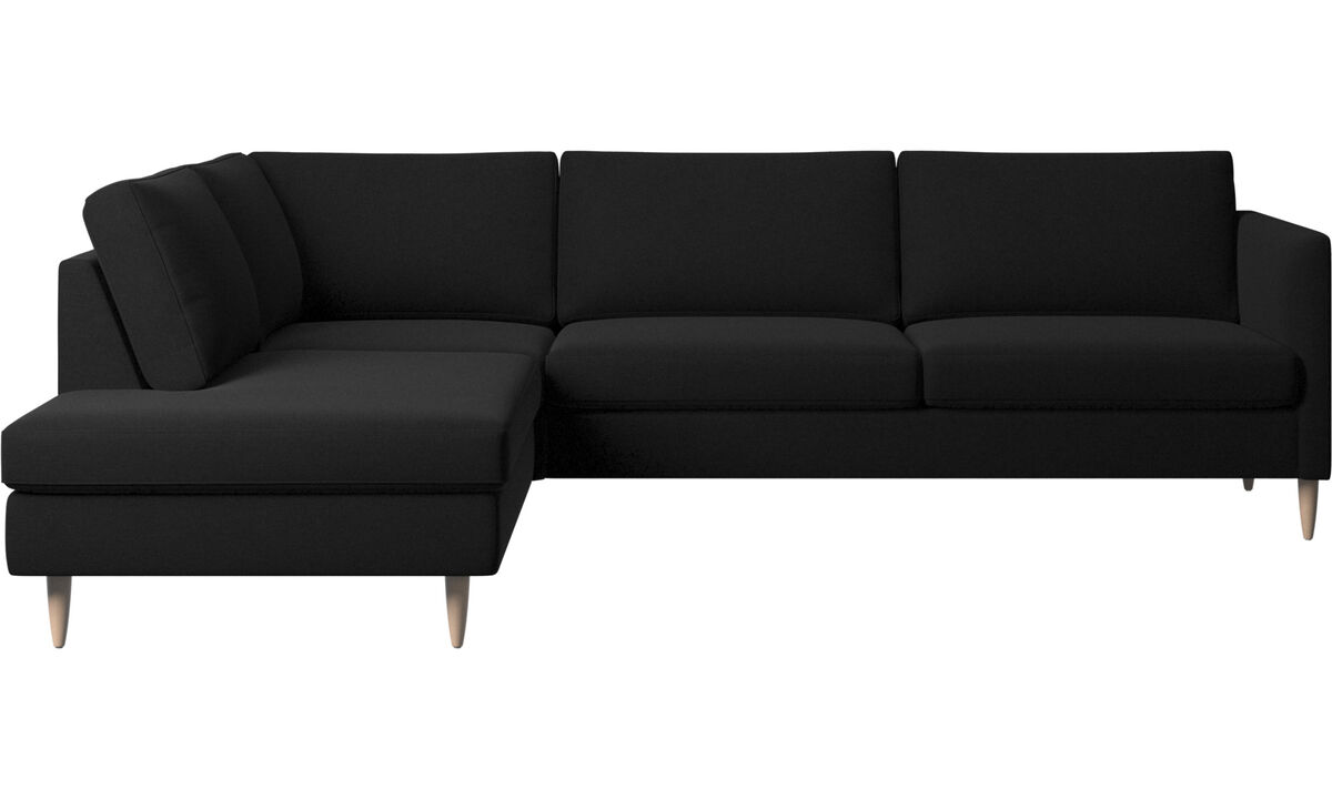 Corner sofas - Indivi corner sofa with lounging unit - Black - Fabric