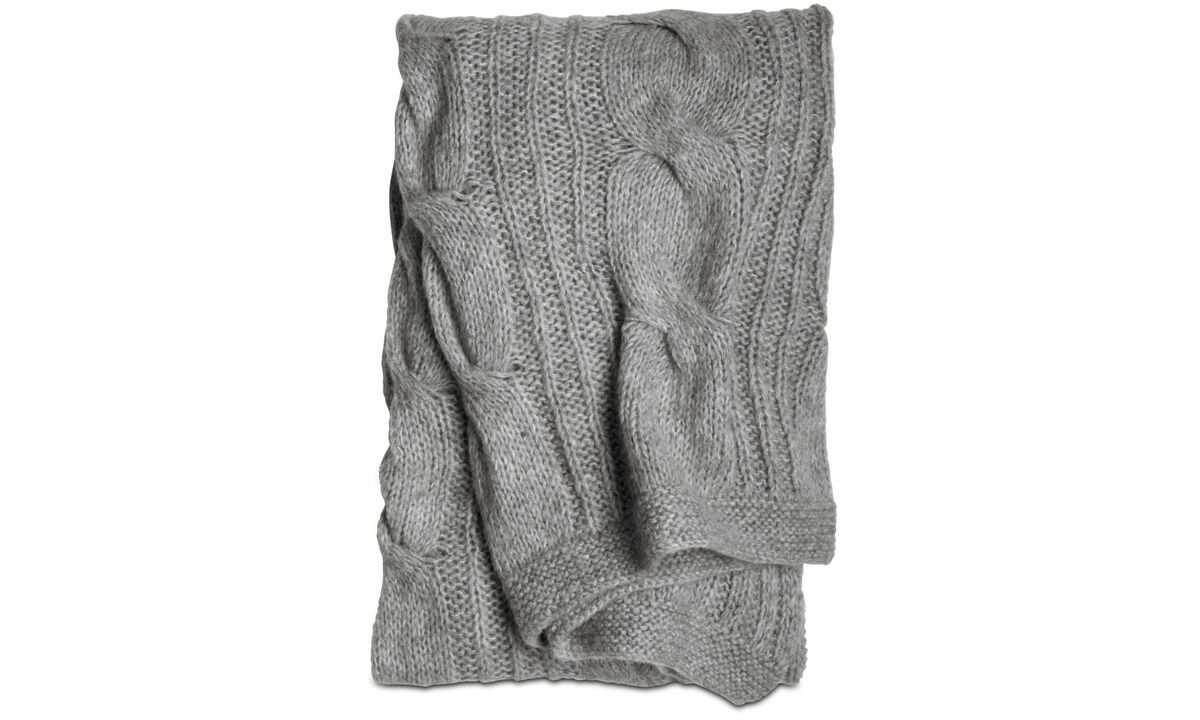 Pledd og sengetepper - Cable knit pledd - Grå - Tekstil